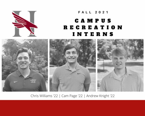Fall 2021 Campus Recreation Interns Chris Williams '22, Cam Page '22, Andrew Knight '22