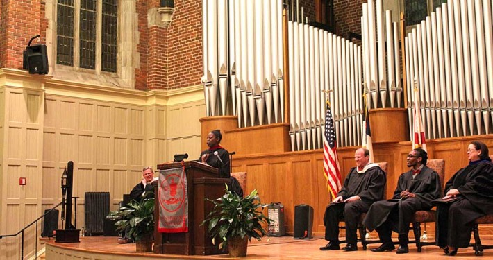 The Rev. Lisa Yebuah, Pastor of Inviting Ministries at Edenton Street UMC in Raleigh, N.C., delivers the 2015 Martin Luther King Convocation sermon