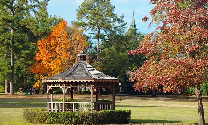gazebo and autumn trees on the Green