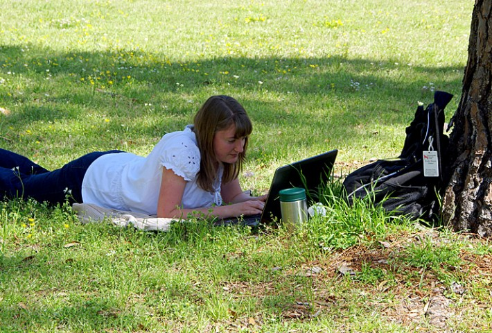 Student with computer