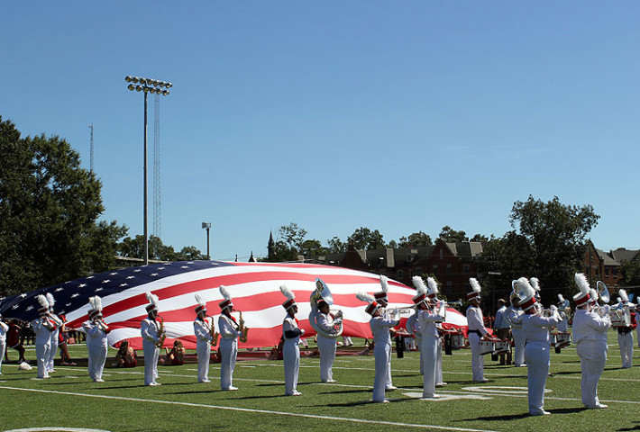 band with American flag