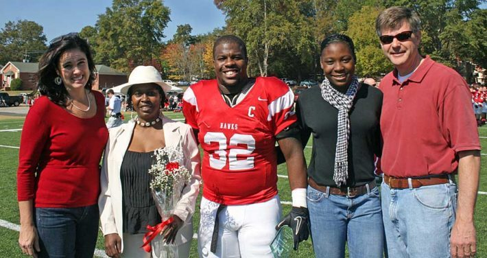 Huntingdon graduate Kirk Johnson '12 and family