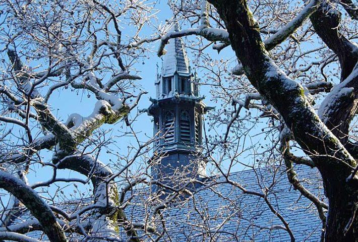 snow on Flowers steeple