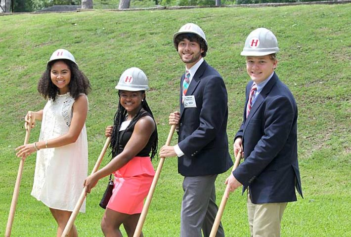 students with shovels