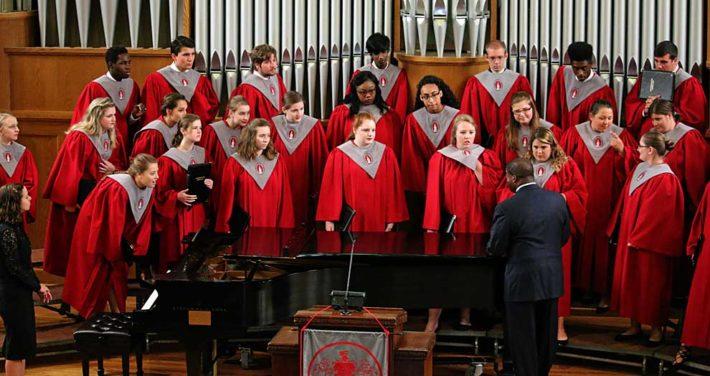 Director instructing choir