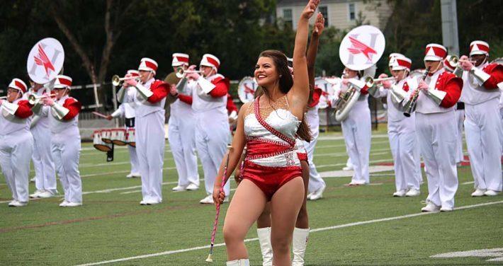 Majorette and band