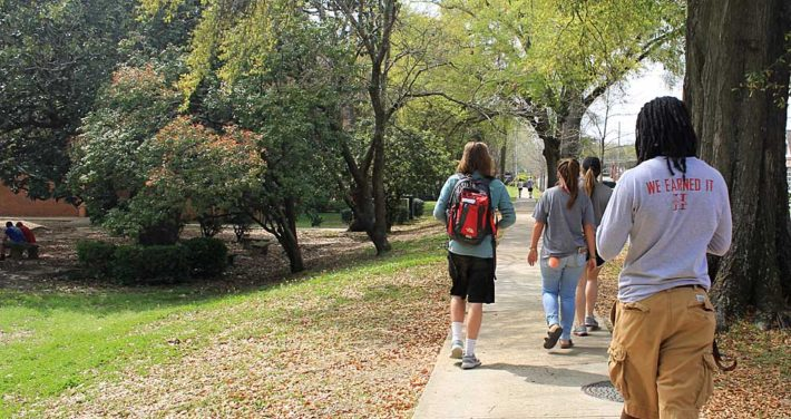 students walking on campus photo