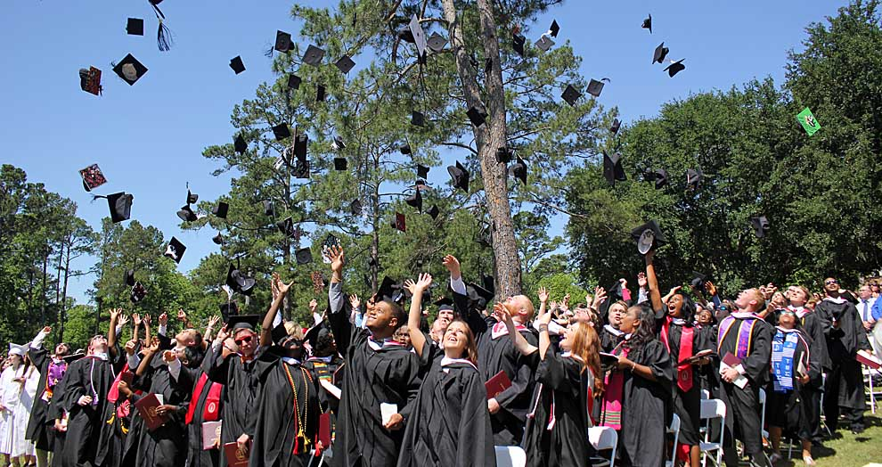Traditional Day Commencement 2016 hat toss